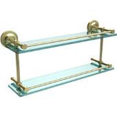 Prestige Regal 22 Inch Double Glass Shelf with Gallery Rail, Satin Brass