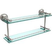 Prestige Regal 22 Inch Double Glass Shelf with Gallery Rail, Satin Nickel