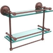 16 Inch Gallery Double Glass Shelf with Towel Bar, Antique Copper