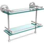 16 Inch Gallery Double Glass Shelf with Towel Bar, Polished Chrome