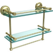 16 Inch Gallery Double Glass Shelf with Towel Bar, Satin Brass