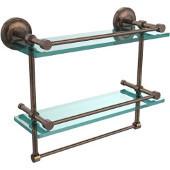 16 Inch Gallery Double Glass Shelf with Towel Bar, Venetian Bronze