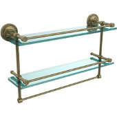 22 Inch Gallery Double Glass Shelf with Towel Bar, Antique Brass