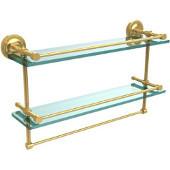 22 Inch Gallery Double Glass Shelf with Towel Bar, Polished Brass