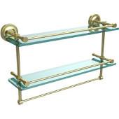 22 Inch Gallery Double Glass Shelf with Towel Bar, Satin Brass