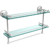 22 Inch Gallery Double Glass Shelf with Towel Bar, Satin Chrome