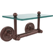 Prestige Regal Collection Two Post Toilet Tissue Holder with Glass Shelf, Antique Copper