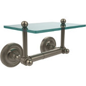 Prestige Regal Collection Two Post Toilet Tissue Holder with Glass Shelf, Antique Pewter
