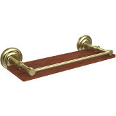 Que New Collection 16 Inch Solid IPE Ironwood Shelf with Gallery Rail, Satin Brass