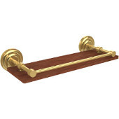 Que New Collection 16 Inch Solid IPE Ironwood Shelf with Gallery Rail, Unlacquered Brass