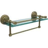 16 Inch Gallery Glass Shelf with Towel Bar, Antique Brass