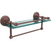 16 Inch Gallery Glass Shelf with Towel Bar, Antique Copper