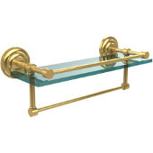 16 Inch Gallery Glass Shelf with Towel Bar, Unlacquered Brass