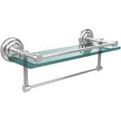 16 Inch Gallery Glass Shelf with Towel Bar, Polished Chrome