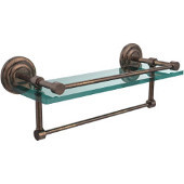 16 Inch Gallery Glass Shelf with Towel Bar, Venetian Bronze