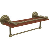 Que New Collection 16 Inch IPE Ironwood Shelf with Gallery Rail and Towel Bar, Antique Brass
