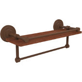 Que New Collection 16 Inch IPE Ironwood Shelf with Gallery Rail and Towel Bar, Antique Bronze