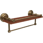Que New Collection 16 Inch IPE Ironwood Shelf with Gallery Rail and Towel Bar, Brushed Bronze