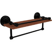 Que New Collection 16 Inch IPE Ironwood Shelf with Gallery Rail and Towel Bar, Matte Black