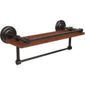 Que New Collection 16 Inch IPE Ironwood Shelf with Gallery Rail and Towel Bar, Oil Rubbed Bronze