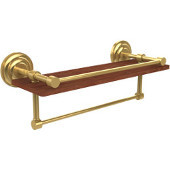 Que New Collection 16 Inch IPE Ironwood Shelf with Gallery Rail and Towel Bar, Polished Brass