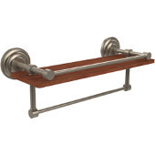 Que New Collection 16 Inch IPE Ironwood Shelf with Gallery Rail and Towel Bar, Antique Pewter
