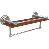Que New Collection 16 Inch IPE Ironwood Shelf with Gallery Rail and Towel Bar, Polished Nickel