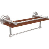 Que New Collection 16 Inch IPE Ironwood Shelf with Gallery Rail and Towel Bar, Satin Chrome