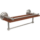 Que New Collection 16 Inch IPE Ironwood Shelf with Gallery Rail and Towel Bar, Satin Nickel
