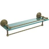 22 Inch Gallery Glass Shelf with Towel Bar, Antique Brass