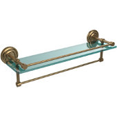 22 Inch Gallery Glass Shelf with Towel Bar, Brushed Bronze