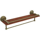Que New Collection 22 Inch IPE Ironwood Shelf with Gallery Rail and Towel Bar, Antique Brass
