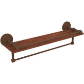 Que New Collection 22 Inch IPE Ironwood Shelf with Gallery Rail and Towel Bar, Antique Bronze