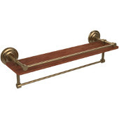 Que New Collection 22 Inch IPE Ironwood Shelf with Gallery Rail and Towel Bar, Brushed Bronze