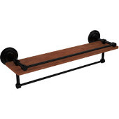 Que New Collection 22 Inch IPE Ironwood Shelf with Gallery Rail and Towel Bar, Matte Black