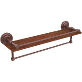 Que New Collection 22 Inch IPE Ironwood Shelf with Gallery Rail and Towel Bar, Antique Copper