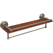Que New Collection 22 Inch IPE Ironwood Shelf with Gallery Rail and Towel Bar, Antique Pewter