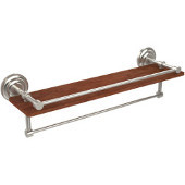 Que New Collection 22 Inch IPE Ironwood Shelf with Gallery Rail and Towel Bar, Polished Nickel
