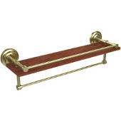Que New Collection 22 Inch IPE Ironwood Shelf with Gallery Rail and Towel Bar, Satin Brass
