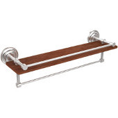 Que New Collection 22 Inch IPE Ironwood Shelf with Gallery Rail and Towel Bar, Satin Chrome