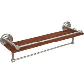 Que New Collection 22 Inch IPE Ironwood Shelf with Gallery Rail and Towel Bar, Satin Nickel