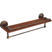 Que New Collection 22 Inch IPE Ironwood Shelf with Gallery Rail and Towel Bar, Venetian Bronze