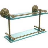 Que New 16 Inch Double Glass Shelf with Gallery Rail, Antique Brass