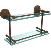 Que New 16 Inch Double Glass Shelf with Gallery Rail, Antique Bronze