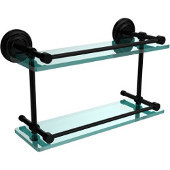 Que New 16 Inch Double Glass Shelf with Gallery Rail, Matte Black