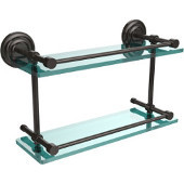 Que New 16 Inch Double Glass Shelf with Gallery Rail, Oil Rubbed Bronze