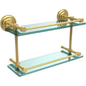 Que New 16 Inch Double Glass Shelf with Gallery Rail, Unlacquered Brass