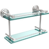 Que New 16 Inch Double Glass Shelf with Gallery Rail, Polished Chrome