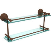 Que New 22 Inch Double Glass Shelf with Gallery Rail, Antique Bronze