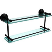 Que New 22 Inch Double Glass Shelf with Gallery Rail, Matte Black